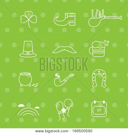 Saint Patricks Day Icons with green Background: clover shoe bagpipe hat moustache beer pot with gold pipe horseshoe rainbow balloons calendar