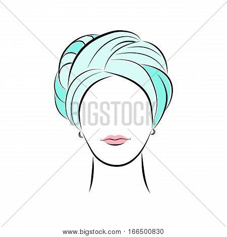 Close up portrait. Beautiful young woman in turquoise turban. Bright lips painted on her face. Vector fashion sketch in hand drawing style for your design. EPS10 format.