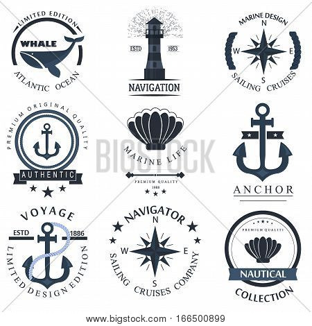 Set of sea and nautical decorations isolated on white background. Collection of elements for company logos, business identity anchor retro badge and web decor or other design. Vector nautical logo.