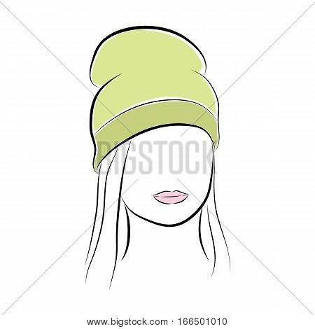 Close up portrait. Beautiful young woman with her hair in a green high hat. Bright lips painted on her face. Vector fashion sketch in hand drawing style for your design. EPS10 format.