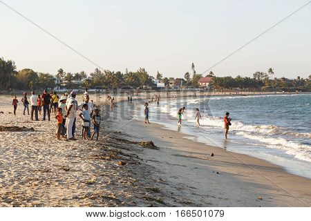 Malagasy Peoples Resting On The Beach