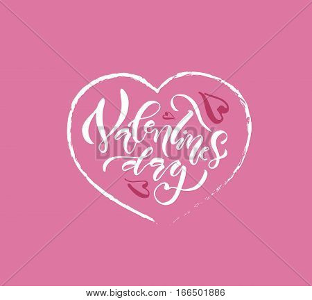 Hand sketched Valentine's Day text as Valentine's Day logotype badge/icon. Valentine's Day calligraphy