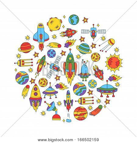 Outer space cosmos cosmic doodles vector set colorful planets satellite asteroid saturen rocket