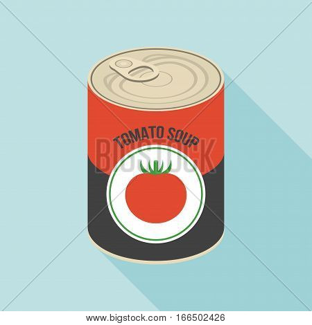 Tomato soup canned, flat design with long shadow