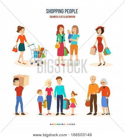 Shopping people. Joint purchasing, fashion girl wardrobe updates, major purchases equipment, family shopping and walking with children, elderly people in the mall. Colorful flat illustration.