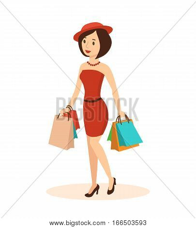 Shopping people. Elegant fashionable woman in a hat, makes a major purchase in the mall. In each hand she holds a lot of bags with the goods. Vector illustration. Can be used as commercial materials.