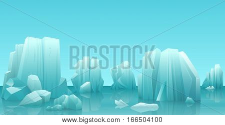 Cartoon nature winter arctic ice landscape with iceberg, snow mountains rocks hills. Vector game style illustration
