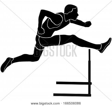 runner athlete running hurdles black silhouette vector illustration