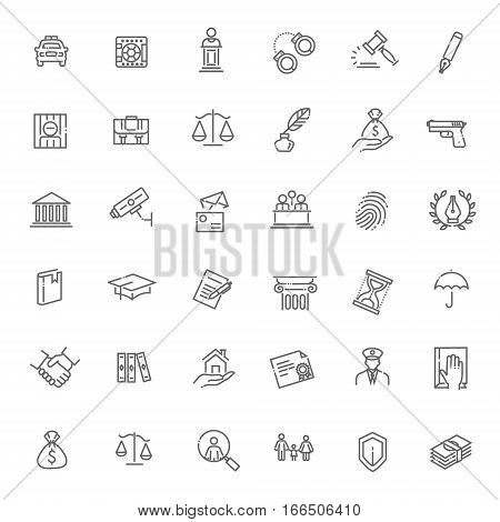 Modern thin line icons of law and lawyer services.