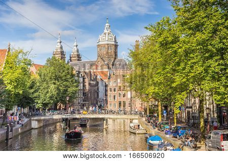 AMSTERDAM, NETHERLANDS - SEPTEMBER 18, 2016: St. Nicolas Church in the center of Amsterdam, Holland