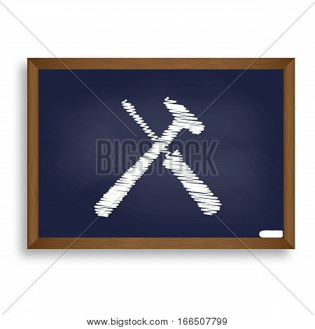 Tools Sign Illustration. White Chalk Icon On Blue School Board W
