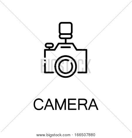 Camera icon. Single high quality outline symbol for web design or mobile app. Thin line sign for design logo. Black outline pictogram on white background