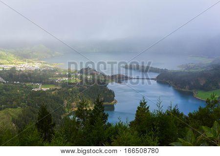 Lagoa Verde and Lagoa Azul on island Sao Miguel, the Azores