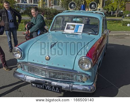 MOSCOW RUSSIA - OCTOBER 1 2016: Old Soviet car Moskvich-403. Version of the patrol police car.