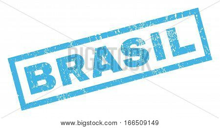 Brasil text rubber seal stamp watermark. Caption inside rectangular banner with grunge design and scratched texture. Inclined vector blue ink emblem on a white background.