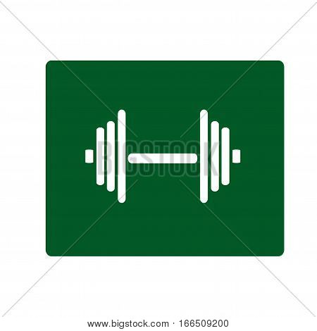 Dumbell flat icon. Isolated vector on green background.