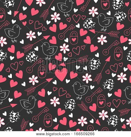Happy St. Valentine's Day. Love seamless pattern with cock, hearts, arrow, flowers, ladybug, key, padlock on a dark background.