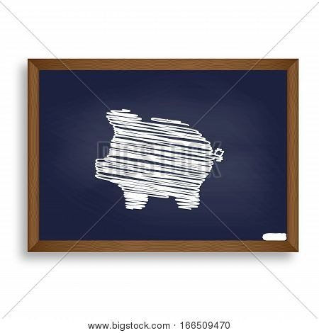 Pig Money Bank Sign. White Chalk Icon On Blue School Board With