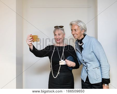 Selfies With Christine Lagarde In Davos