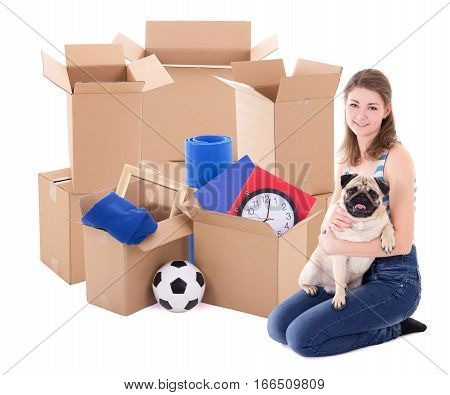 Young Woman With Brown Cardboard Boxes And Dog Isolated On White