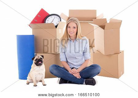 Young Beautiful Woman Ready For Moving Day Isolated On White