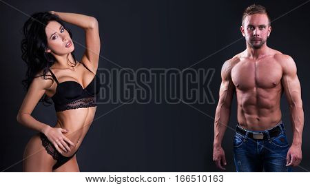 Sexy Beautiful Woman In Black Lace Lingerie And Sporty Man Ober Black