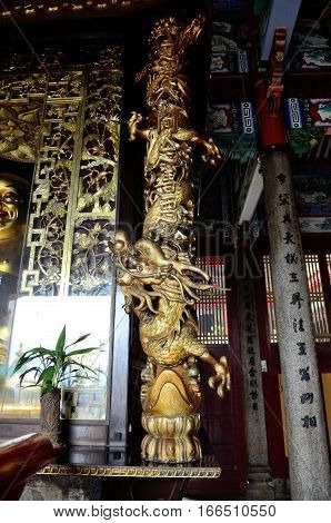 George Town/Malaysia - September 2012: The interior of a pagoda in Kek Lok Si temple complex in George Town Penang Malaysia