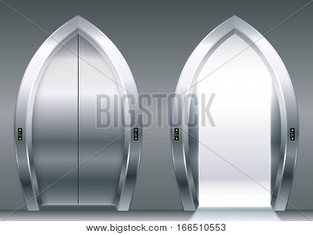 Arched doors of the elevator or gateway in the eastern style. Vector graphics