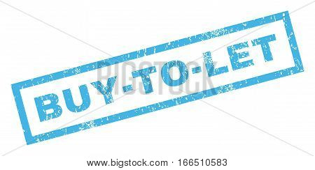 Buy-To-Let text rubber seal stamp watermark. Tag inside rectangular shape with grunge design and scratched texture. Inclined vector blue ink emblem on a white background.