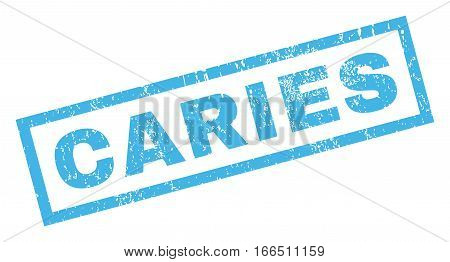 Caries text rubber seal stamp watermark. Tag inside rectangular banner with grunge design and unclean texture. Inclined vector blue ink sticker on a white background.