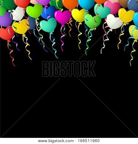 Scalable vectorial image representing a colorful heart balloons on ribbons over black background.