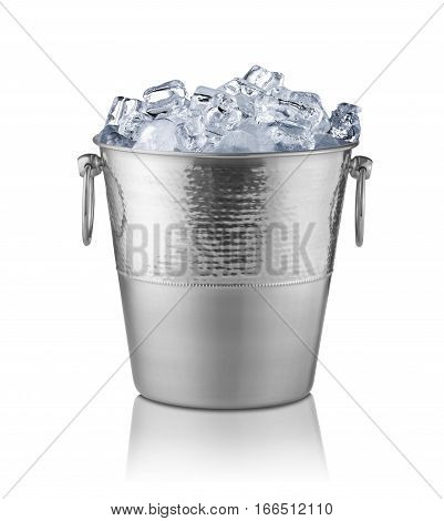 Metal champagne bucket full with ice. Isolated on white