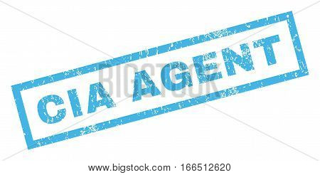CIA Agent text rubber seal stamp watermark. Tag inside rectangular shape with grunge design and scratched texture. Inclined vector blue ink sticker on a white background.