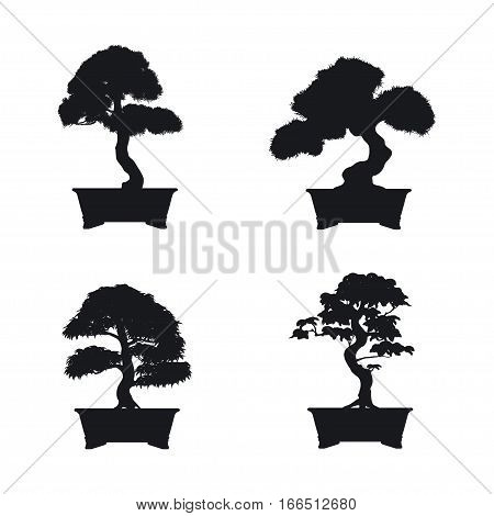 Bonsai set. Black silhouette of bonsai on white background. Japanese style. Vector illustration