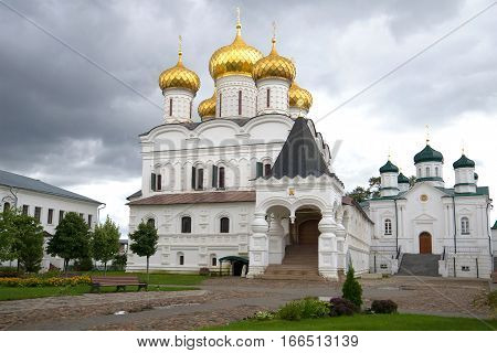 Temples of the Ipatievsky monastery gloomy autumn day. Kostroma, Golden ring of Russia
