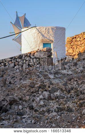 old windmill at hiliomodi island, patmos, greece
