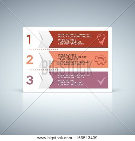 Red purple infographic tab design with numbers and sample text