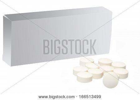 Group of tablets and package with text space
