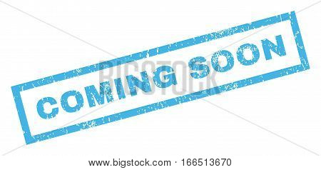 Coming Soon text rubber seal stamp watermark. Caption inside rectangular banner with grunge design and unclean texture. Inclined vector blue ink sticker on a white background.