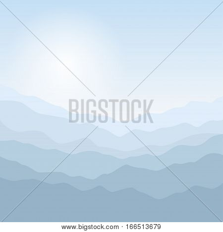 Mountain Landscape, the Silhouette of the Mountains at Sunrise, View of the Mountains in the Morning, Mountain Ranges in Shades of Blue, Waves