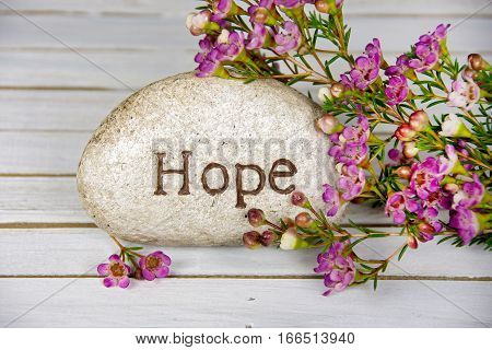 word hope carved in stone with pink flowers on whitewashed wood