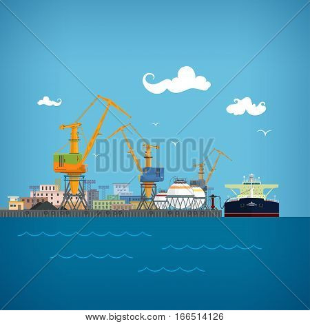 Cargo Sea Port,Unloading of Oil from the Tanker ,Loading or Unloading of Liquids or Oil or Liquefied Petroleum Gas ,Port Warehouses and Cranes, Sea Freight Transportation,Logistics