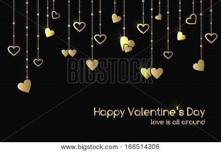 Vector greeting card for Valentine's Day with hanging gold shine heart shape garlands