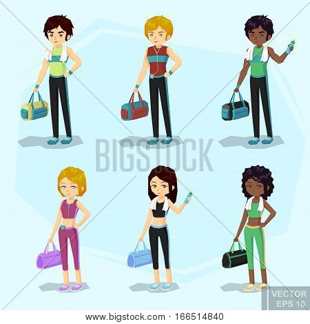Young Fit Blond Woman And Man In Sportswear, With Water Bottle Bag, Player, Towel After Workout. Afr