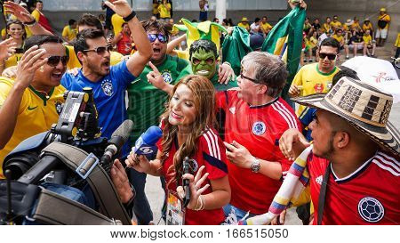 Tv Reporter Overwhelmed By World Cup Soccer Fans