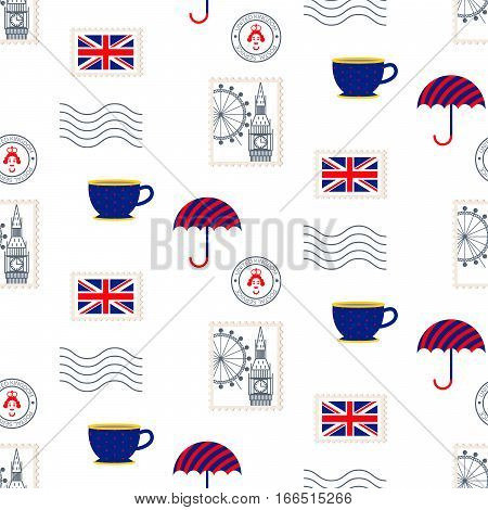 British symbols vector seamless pattern. Postal stamps, umbrella, flag and cup of tea icons background.