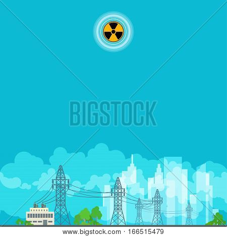 High Voltage Power Lines Supplies Electricity to the City ,Poster Brochure Flyer Design, Radiation Sign