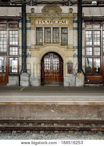 Period architectural detail within the train station and platforms of Haarlem Holland.