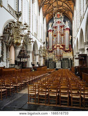 Haarlem Grote Kerk (great Church) Interior, Netherlands.