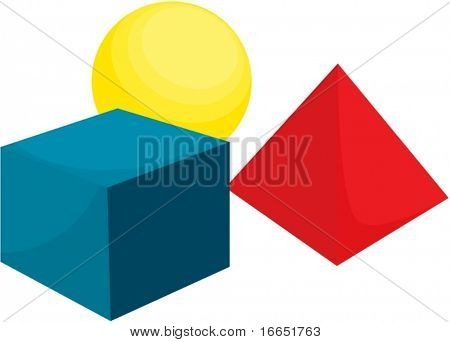 illustration of cube, sphere and diamond on a white background